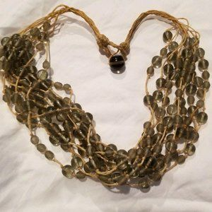 VTG WAXED STRING GREEN GLASS BEADED NECKLACE CM704